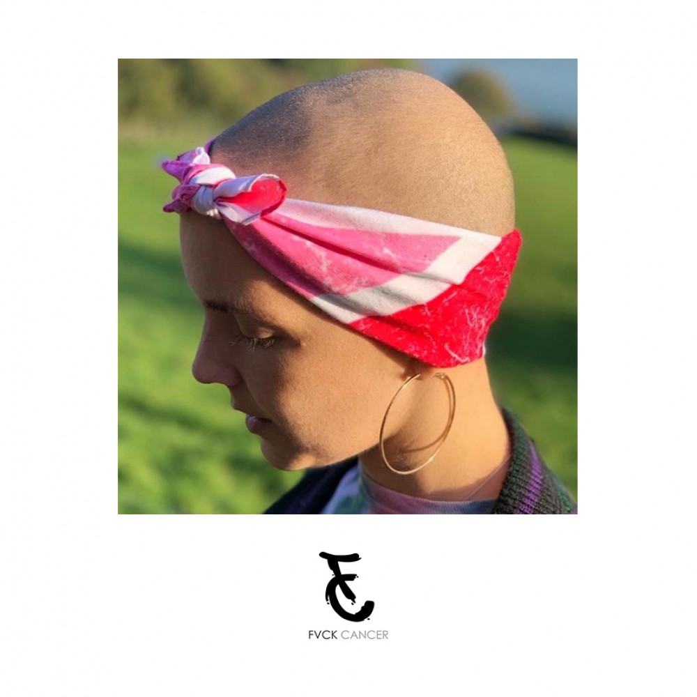 FVCK CANCER Pink Union Jack Bandana